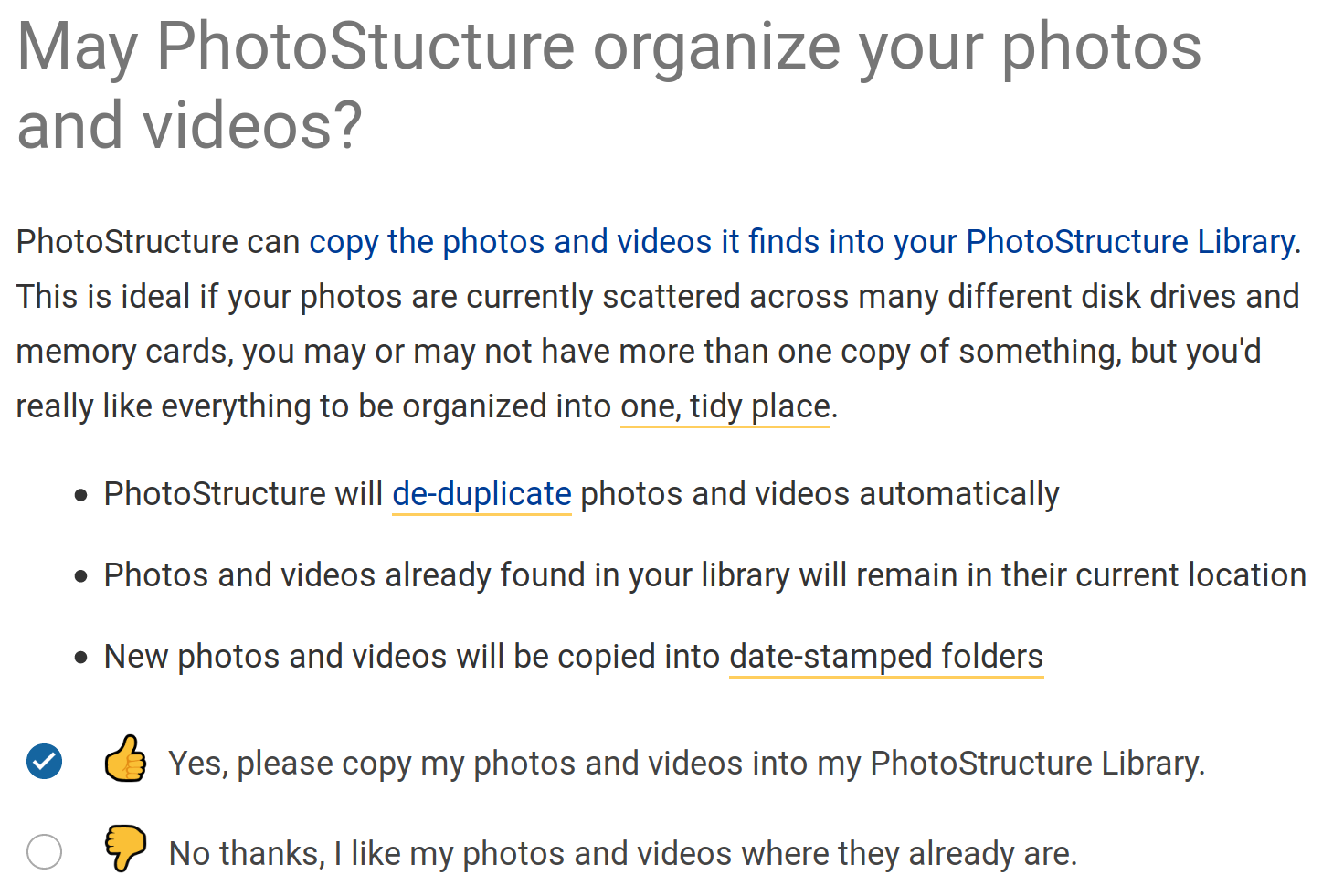 Screenshot from PhotoStructure's welcome page