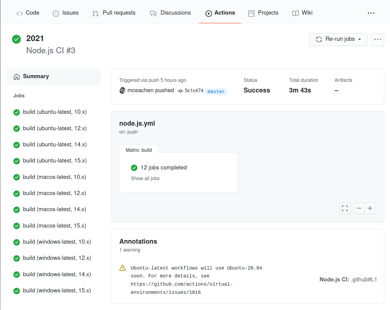 GitHub Actions build summary